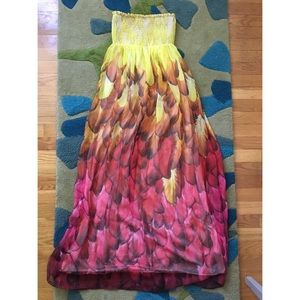 Strapless feather print maxi dress